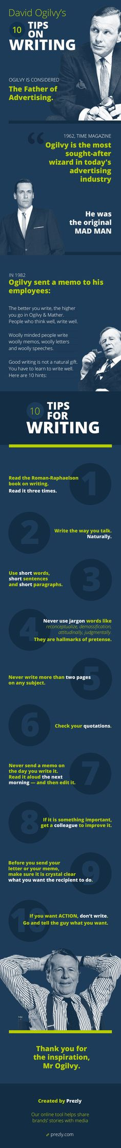 10 writing tips of original mad man David Ogilvy  #infographic #ogilvy #writing