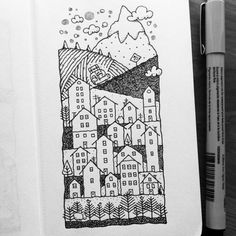 Drawing Doodles Sketchbooks Dave Garbot - Ink Pen Drawings, Doodle Drawings, Doodle Art, Easy Drawings, Pen Sketch, Doodle Sketch, Sketches, Sketchbook Inspiration, Art Sketchbook