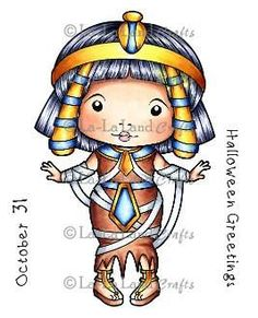 """La La Land Crafts RETIRED """"Egyptian Mummy Marci (with sentiments)"""" Rubber Stamp"""