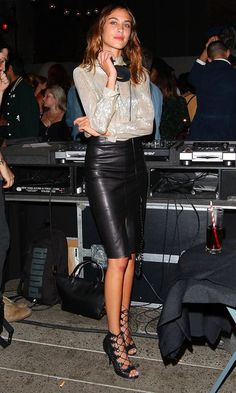 Alexa Chung Is A Seriously Stylish DJ In A Leather Skirt And Sheer Top
