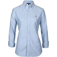 Polo Ralph Lauren Harper Chambray Shirt ($59) ❤ liked on Polyvore featuring tops, blue, embroidery shirts, blue polo shirts, blue top, embroidery polo shirts and blue chambray shirt