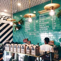 coffee shop colors black white blue - Google Search
