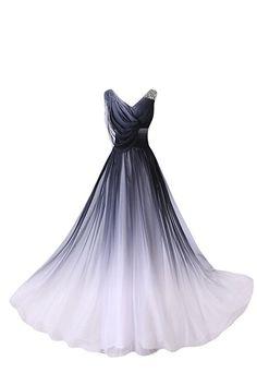 Gorgeous Bride Elegant Lang V-Ausschnitte A-Linie Chiffon Abendkleider Festkleid Ballkleid -38 Mehrfarbig C