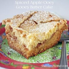 Spiced Apple Ooey Gooey Butter Cake - has a layer of yellow cake. topped with some spicy apples and an ooey gooey cream cheese layer. Perfect dessert for fall. ? Recipes. Food and Cooking