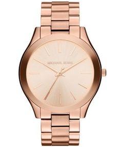 7264a3d4c73 Michael Kors Women s Slim Runway Rose Gold-Tone Stainless Steel Bracelet  Watch 42mm MK3197