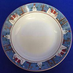 Sakura Blue SNOWMAN Bowl Cereal Soup Debbie Mumm Christmas Holiday Winter 1997