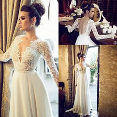 Wholesale A-Line Wedding Dresses - Buy Elegant Hadas Cohen Lace A Line Wedding Dress 2014 Open Back V Neck Long Sleeve Chiffon Bridal Gowns Floor Length With Chiffon And Satin, $102.36 | DHgate
