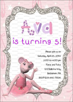 CUSTOM Angelina Ballerina Birthday Invitation by PartyPotpourri, $8.00