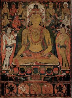 From The Metropolitan Museum of Art, Ratnasambhava, the Buddha of the Southern Pure Land. Tibet (late century), Mineral and organic pigments on cloth,… Buddha Buddhism, Tibetan Buddhism, Buddhist Art, Buddhist Temple, Tibetan Mandala, Tibetan Art, Nepal, Buddha Artwork, Thangka Painting