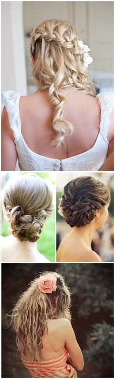 Fresh and tousled wedding hair: braids, loose chignon, down.