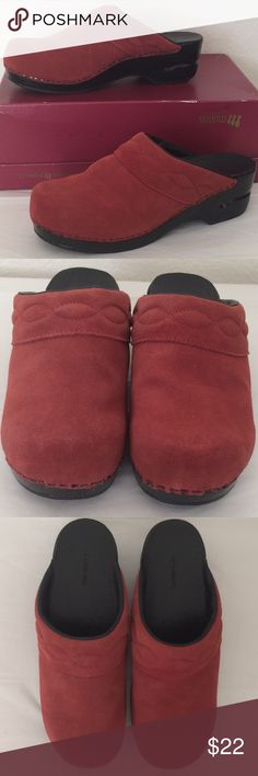 Land's End red suede clogs, size 9 Land's End red suede clogs; marked size 9B; rarely worn and in great condition; labeling says top is genuine suede; foot bed is pleather; wedge is a plastic woodgrain, but it looks like black painted wood -- see photos; tallest part of platform measured back of heel is approximately 2 1/4 inches. Lands' End Shoes Mules & Clogs