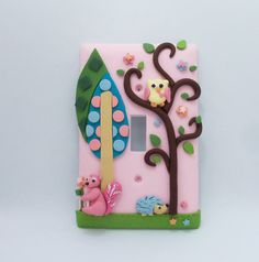Yellow Owl, Pink squirrel, Blue hedgehog, Geometric trees - Light switch cover - Nursery Children's
