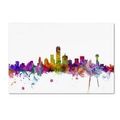 "Trademark Art ""Dallas Texas Skyline"" by Michael Tompsett Graphic Art on Wrapped Canvas Size: 30"" H x 47"" W x 2"" D"