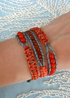 Items similar to Macrame and Beaded Wrap Bracelet With Grey Leather and a Button Clasp - Shades of Orange on Etsy Hemp Jewelry, Jewelry Knots, Macrame Jewelry, Leather Jewelry, Jewelry Crafts, Beaded Wrap Bracelets, Macrame Bracelets, Handmade Bracelets, Handmade Jewelry