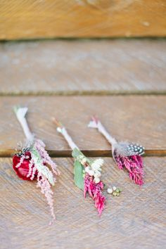 Boho boutonnieres: http://www.stylemepretty.com/little-black-book-blog/2014/12/24/rustic-romantic-wrightwood-ranch-wedding/ | Photography: Wai Reyes - http://waireyes.com/