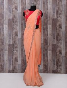 Designer Peach Pure Net Ready To Wear Saree, Designer net saree for women, latest designer net saree, Net saree for women, fresh colour in net saree, shop online net saree, latest design net saree 2019, deisgner net saree for party, latest designer net saree for wedding Saree Wearing Styles, Saree Styles, Blouse Styles, Design Net, Party Wear Sarees Online, Half Saree Designs, Saree Trends, Saree Photoshoot, Stylish Sarees