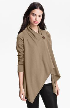 Love this! The camel/taupe color is perfect.   One-Button Fleece Wrap Cardigan (Regular & Petite)