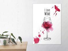 """Ein Gläschen in Ehren, kann niemand verwehren... 😉 Unser Premium Poster """"Wine"""" trifft auch deinen Geschmack! Decals, Poster, Wine, My Love, Home Decor, Decorating Ideas, Tags, Decoration Home, Room Decor"""