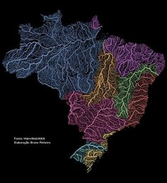 O mapa colorido mostra o padrão de rede dos caminhos feitos por cada corpo hídrico brasileiro, registrados em todos os 27 Estados utilizando bases públicas de dados. Elaborado por Bruno Pinheiro, pesquisador de Gestão em Políticas Públicas na USP que dedica parte de seu tempo realizando mapeamentos sob novas perspectivas. O trabalho que inspirou essa iniciativa foi publicado no Imgur pela geógrafa Fejetlenfej.