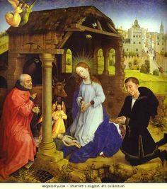 Rogier van der Weyden. Middelburg Altarpiece. Nativity. Detail.