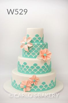 not these colors, but very interesting idea with the scallops. Carlo's Bakery Wedding Cake