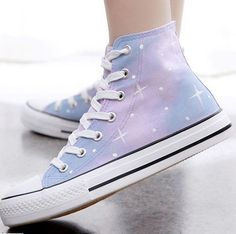 """Fashion students galaxy hand-painted canvas shoes- Pastel galaxies! Use code """"battytheragdoll"""" for 10% off!"""