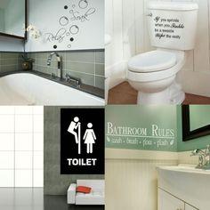 BATHROOM WALL QUOTES! Toilet & Bath Wall Art Transfer, Self Adhesive Vinyl Decal #WallStickerExtra