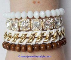 "JDS - JEWEL DIVAS ""NIGHT LIGHTS"" BRACELET STACK - http://jeweldivasstyle.com/designer-inspired-how-to-make-your-own-version-of-samantha-wills-all-of-the-lights-bracelet-stack/"
