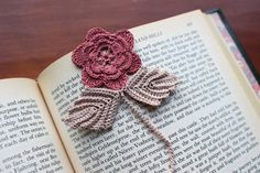 Crochet bookmark flower unique book lover gift by Draiguna on Etsy