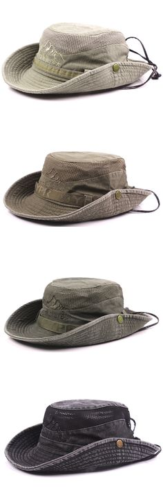 571c113e05f3 Mens Summer Cotton Embroidery Visor Bucket Hats Fisherman Hat Outdoor  Climbing Mesh Sunshade Cap Outdoor Outfit