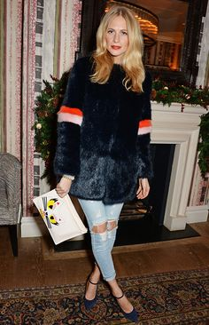 Poppy Delevigne in her It-girl coat faux fur Shrimps coat
