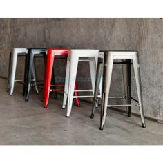Get the industrial look in your home with Mocka's Industrial Stools   This replica Tolix Stool is super stylish, affordable and super practical!  Sensational style for your home and also perfect for cafes, restaurants and outdoor use.  The height of these stools make them perfect barstools!  Available in Red, White, Black, Galvanised & Silver.