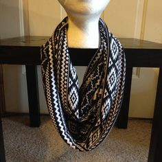 Aztec Infinity Knit Scarf/Black and White Infinity Scarf /Forever Scarf on Etsy, $12.00