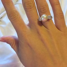 Elegant diamond and pearl ring Both the diamond and the pearl are are but make a convincing argument. The ring is in fantastic shape. Park Lane Accessories