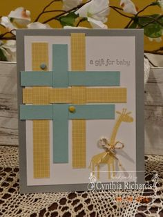 Stampin Up, zoo babies, handmade cards, gold bakers twine