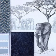 Putting together this kitchen scheme for a client meeting this morning using our Waterhole wallpaper, charcoal grey tiles from @firedearthuk, @littlegreenepaintcompany for the kitchen units and @zoffanyfw fabric for the blinds. #homedecor #wallpaper #elephant #safari #drawing #illustration #design #details #inspiration #interiordesign #kitchen #luxury #lifestyle