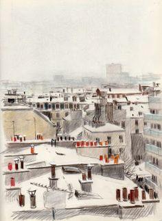 Urban Sketchers: Paris by Martin Etienne Gravure Illustration, Art Et Illustration, Sketches Arquitectura, Urban Sketchers, Art Sketchbook, Drawing Sketches, Pen Drawings, Art Inspo, Painting & Drawing