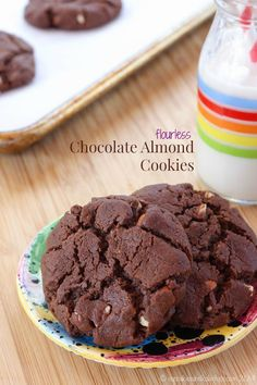 Flourless Chocolate Almond Cookies - rich, chocolaty cookies with nutty crunch. Plus naturally gluten free and dairy free. The kids will love these as a snack!
