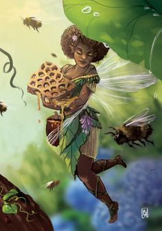 Anastasia Magloire Williams Illustration Design My piece for Black Girl Art, Black Women Art, Art Girl, African American Art, African Art, Fantasy Creatures, Mythical Creatures, Black Fairy, Afro Art