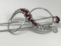 Silver and Red handmade hair barrette with matching hair pin