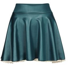 Yoins Dark Blue Leather Skater Skirt with Lace Hem ($10) ❤ liked on Polyvore featuring skirts, yoins, blue, pleated circle skirt, flared skirts, leather skirt, blue circle skirt and blue pleated skirt