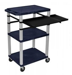 """H. Wilson 42"""" Presentation Cart With Keyboard Shelf And Side Pullout Blue With Nickel legs by H. Wilson. $241.43. Three 18"""" x 24""""shelves for all presentation materials. Pull out front and side shelves.. Electrical attachment is recessed so it doesn't add width to the cart.. Keyboard tray with mousepad extender.3-outlet UL approved electrical assembly with a 15 ft. cord, an. All shelves have a 1/4""""safety retaining lip and a raised texture surface to enhance prod..."""