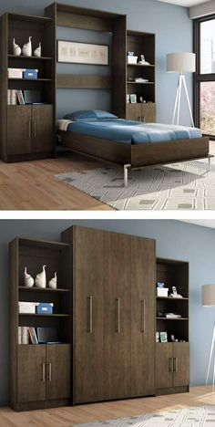 Decorate your room in a new style with murphy bed plans Cama Murphy, Murphy Bed Ikea, Murphy Bed Plans, Small Apartments, Small Spaces, Hidden Bed, Guest Room Office, Guest Rooms, Bedroom Office