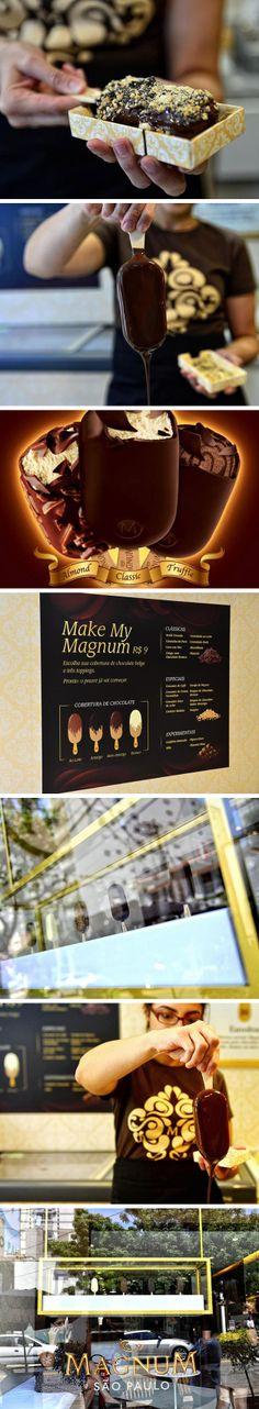 #KIBON Depois do sucesso em Londres, Paris e Istambul agora é a vez de São Paulo receber a Magnum Store, a loja conceito que permite o cliente criar o seu próprio sorvete. Cada unidade sai por 9 reais. O endereço é Rua Melo Alves, 490 – Jardins – São Paulo