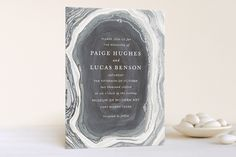 """Wow   """"Gilt Agate"""" - Modern, Whimsical & Funny Foil-pressed Wedding Invitations in Navy by Kaydi Bishop."""