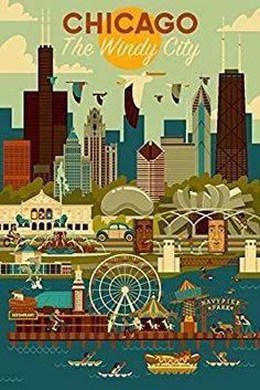 Amazon.com: Chicago, Illinois - Geometric (12x18 Art Print, Wall Decor Travel Poster): Wall Art #travel #wallart #walldecor #vintagetravelposter #affiliate #chicago Chicago Poster, Chicago Art, Chicago Travel, Chicago Illinois, Poster Prints, Art Prints, Poster Wall, Cool Wall Art, Vintage Travel Posters