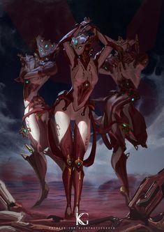 Mirage Prime by Kevin-Glint on DeviantArt Fantasy Anime, Dark Fantasy Art, Fantasy Artwork, Arte Ninja, Arte Robot, Fantasy Creatures, Mythical Creatures, Fantasy Characters, Female Characters