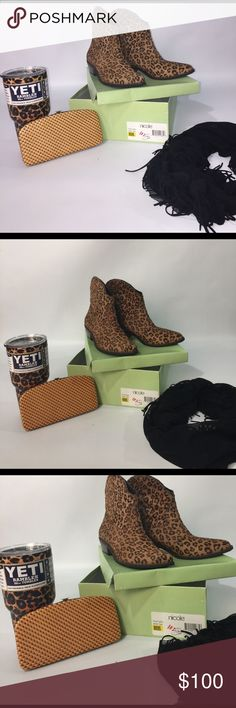 Bundled Lot! Cheetah Ankle Boots Scarf Wallet Yeti Cheetah Size 10 Ankle Boots, Scarf, Wallet, 30 oz Yeti Nicole by Nicole Miller Shoes Ankle Boots & Booties