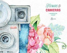 Flowers & Cameras. 6 Handpainted clipart invitation   Etsy