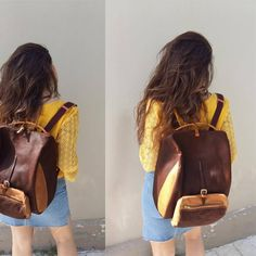 Stylish waxed canvas-leather backpack ,for men and women  ,named TILOS by iyiamihandbags on Etsy